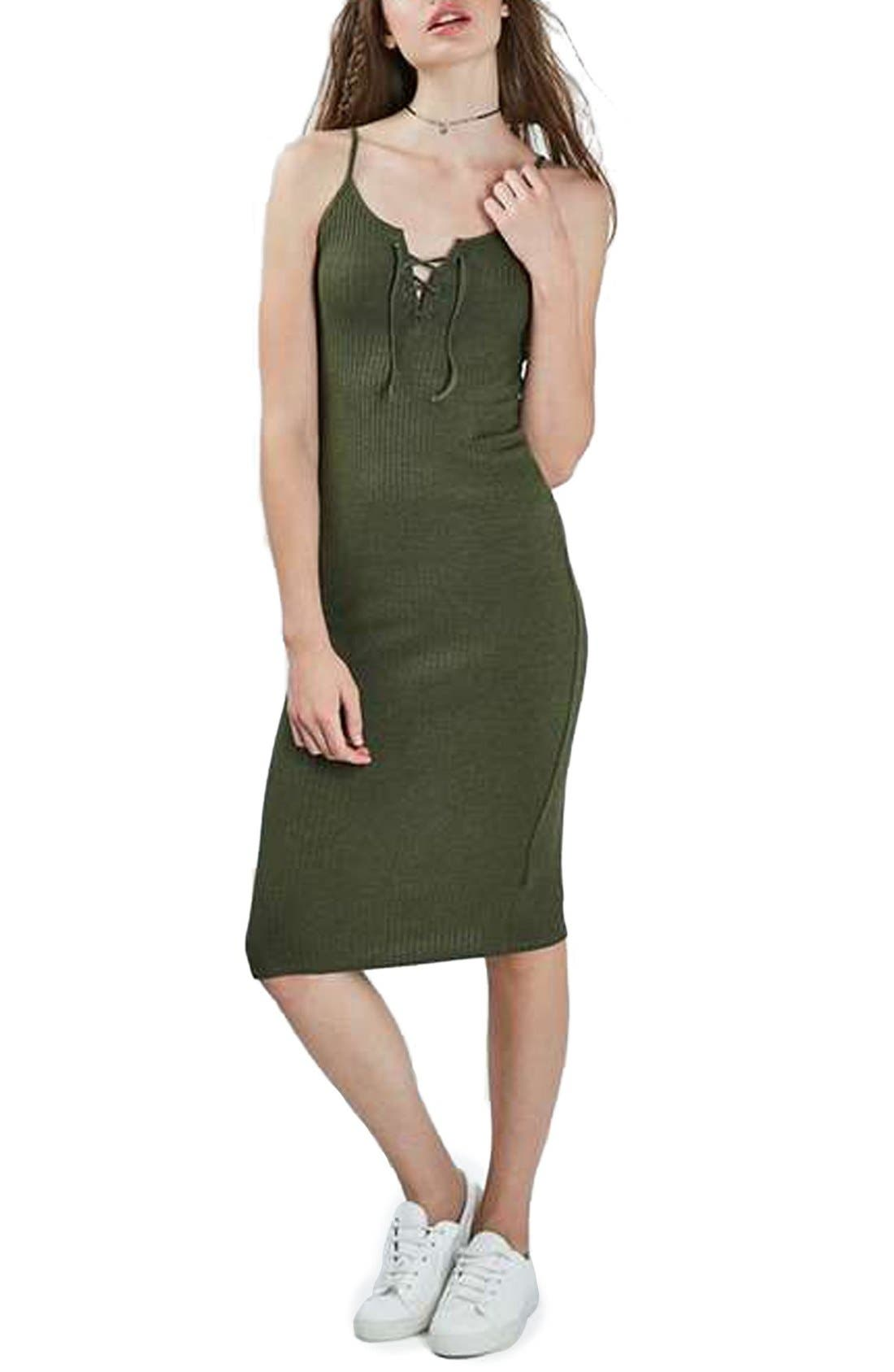 Alternate Image 1 Selected - Topshop Ribbed Body-Con Midi Dress