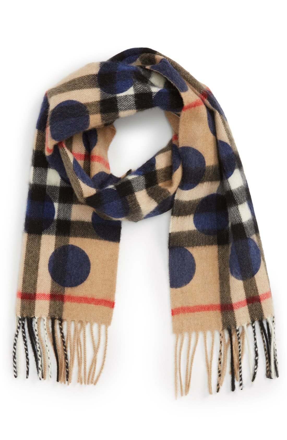 Check Cashmere Scarf,                         Main,                         color, Indigo Blue