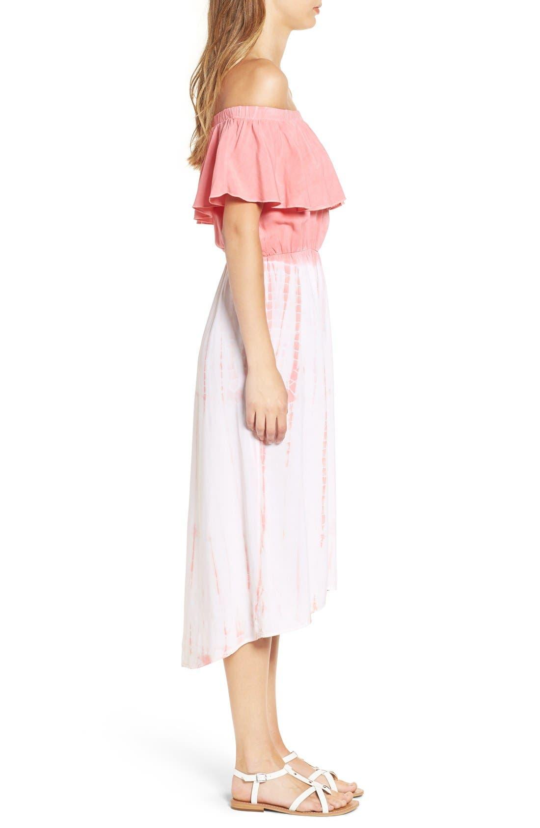 Alternate Image 3  - jella c. Off the Shoulder Tie Dye Midi Dress