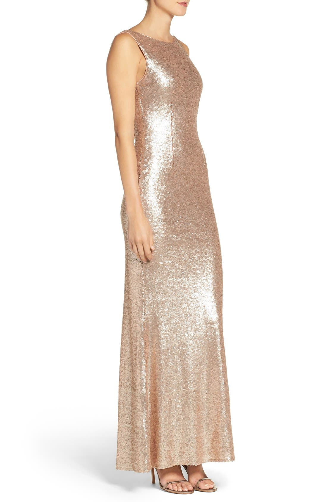 Alternate Image 4  - Lulus Sleeveless Sequin Drape Back Gown