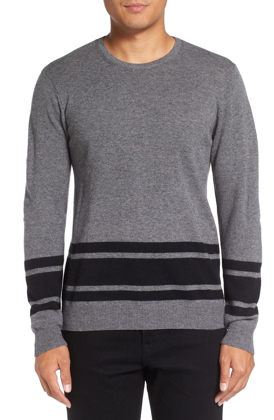 Stripe Wool Blend Sweater,                             Main thumbnail 1, color,                             Derby Grey/ Black