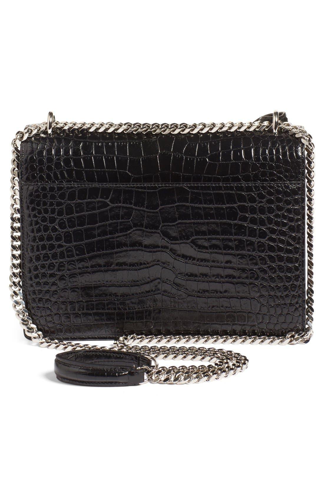'Medium Monogram Sunset' Croc Embossed Leather Shoulder Bag,                             Alternate thumbnail 3, color,                             Nero