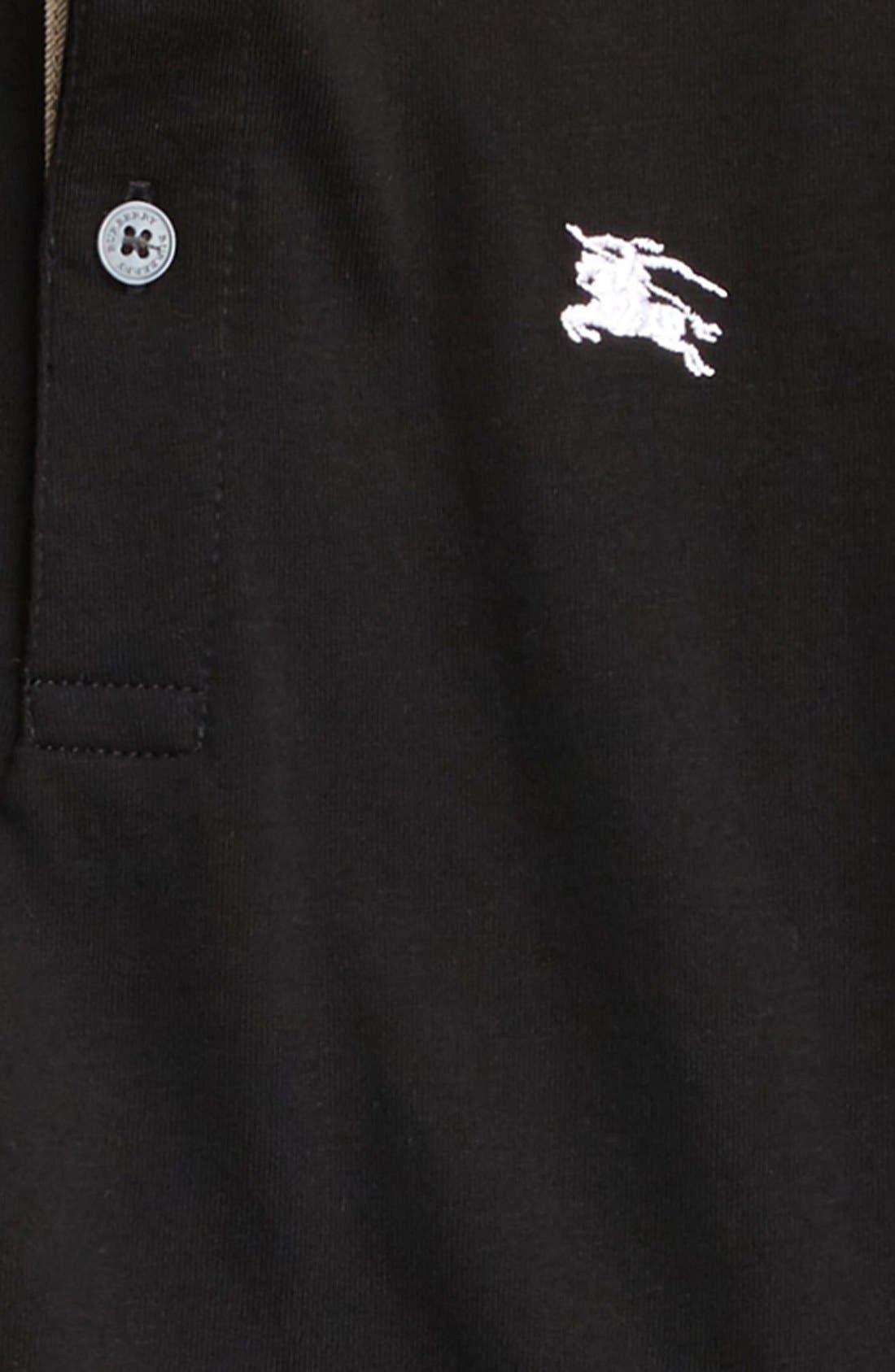 'Mini' Long Sleeve Piqué Polo,                             Alternate thumbnail 2, color,                             Black