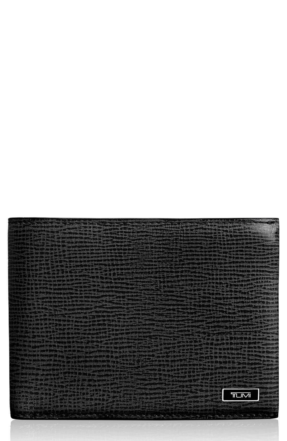 Monaco Double Billfold Leather Wallet,                         Main,                         color, Black
