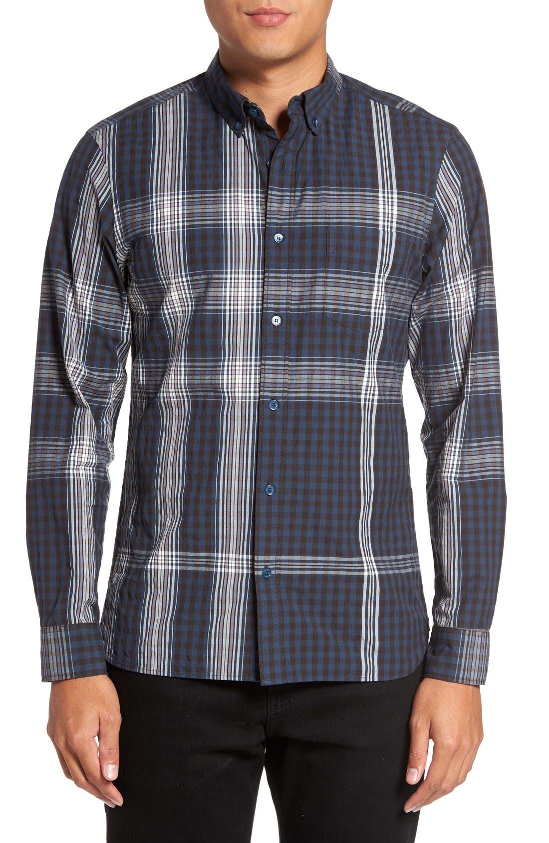 'Blackrock' Trim Fit Plaid Sport Shirt,                         Main,                         color, Navy Blue
