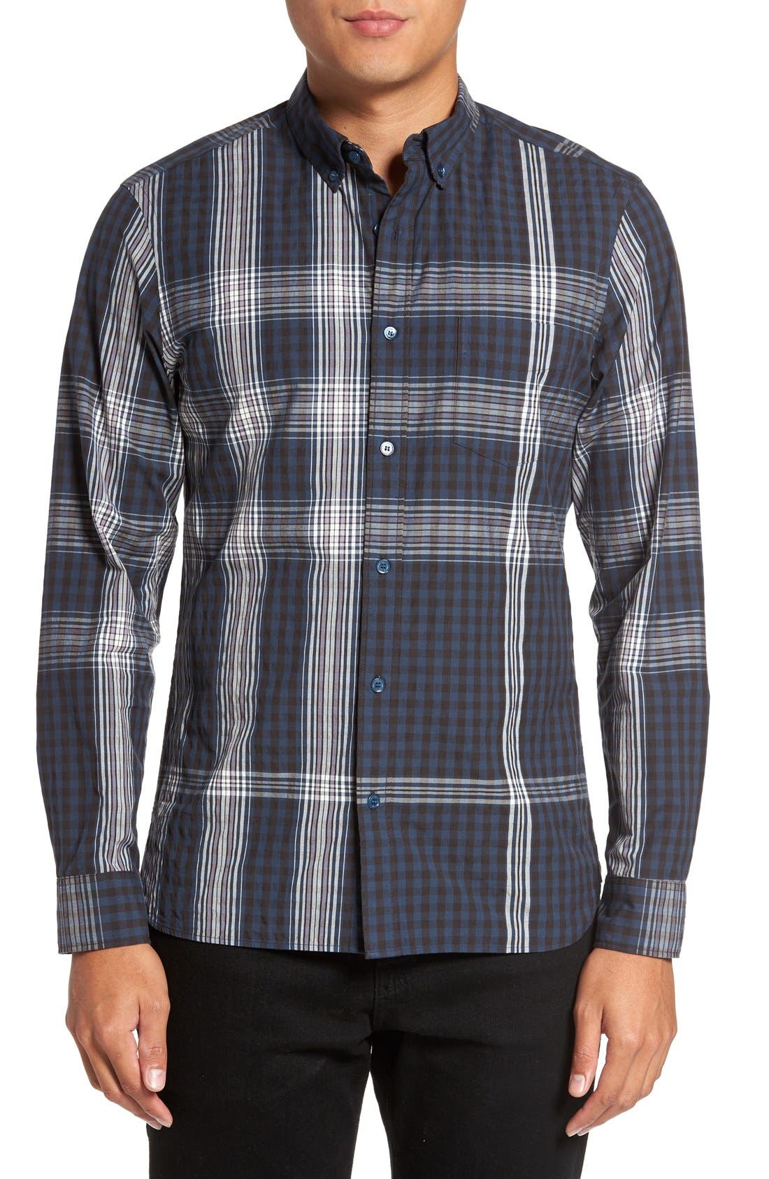 Burberry 'Blackrock' Trim Fit Plaid Sport Shirt