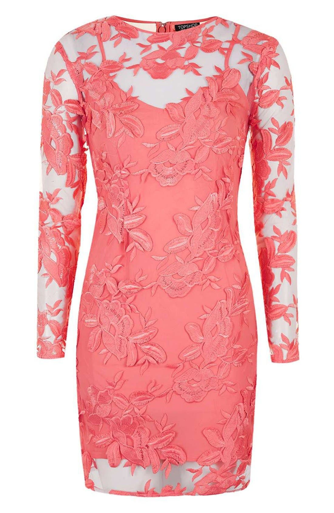 Alternate Image 4  - Topshop Lace Appliqué Long Sleeve Minidress