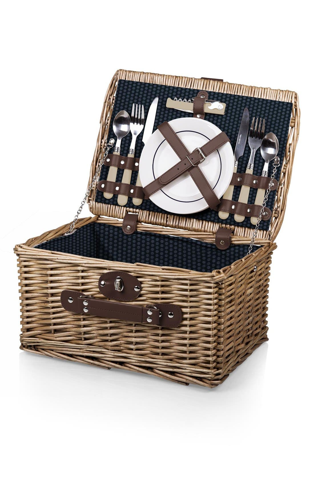 'Catalina' Wicker Picnic Basket,                             Alternate thumbnail 3, color,                             Blue