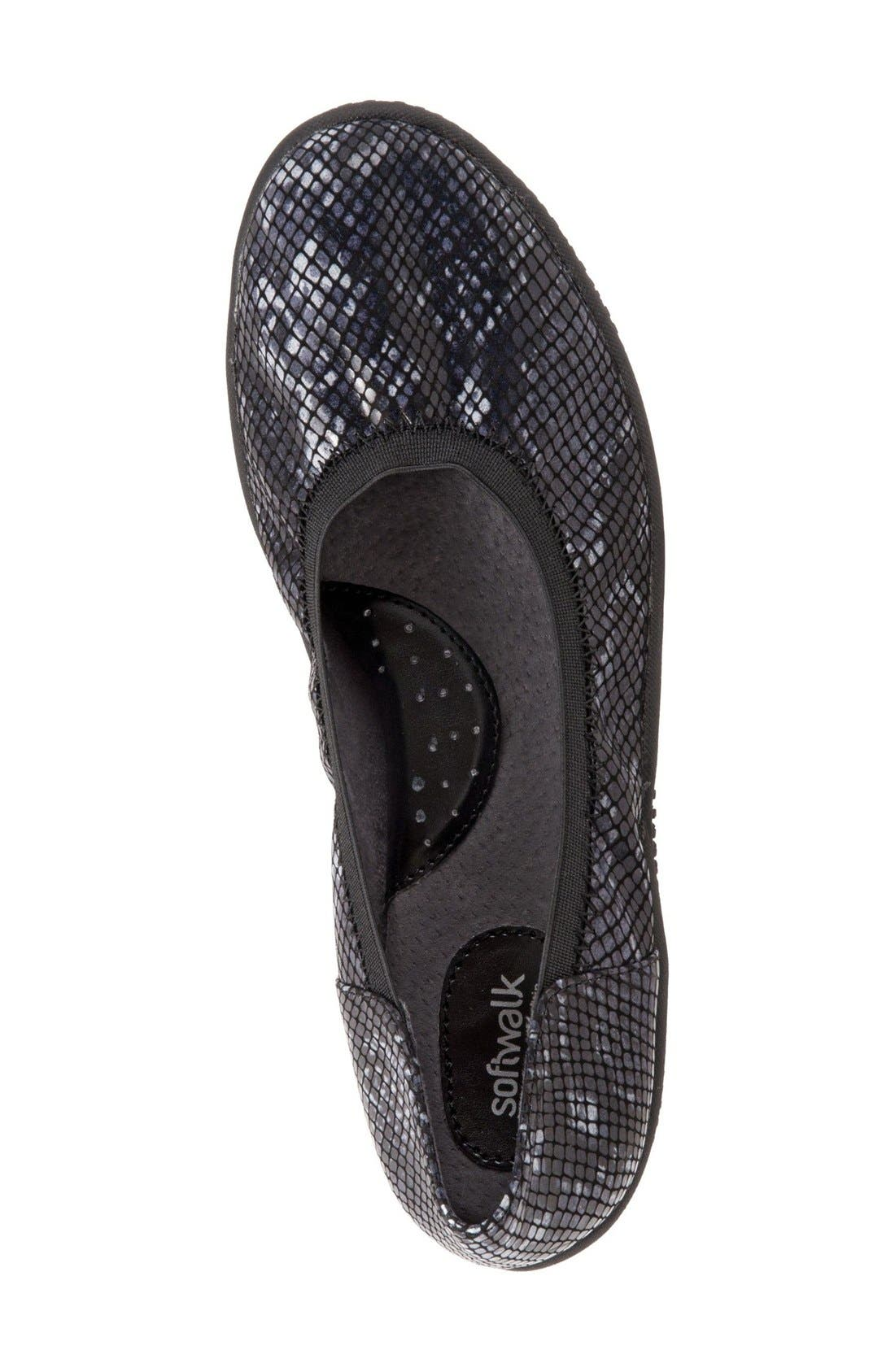 'Hampshire' Dot Perforated Ballet Flat,                             Alternate thumbnail 2, color,                             Black Python Print Leather