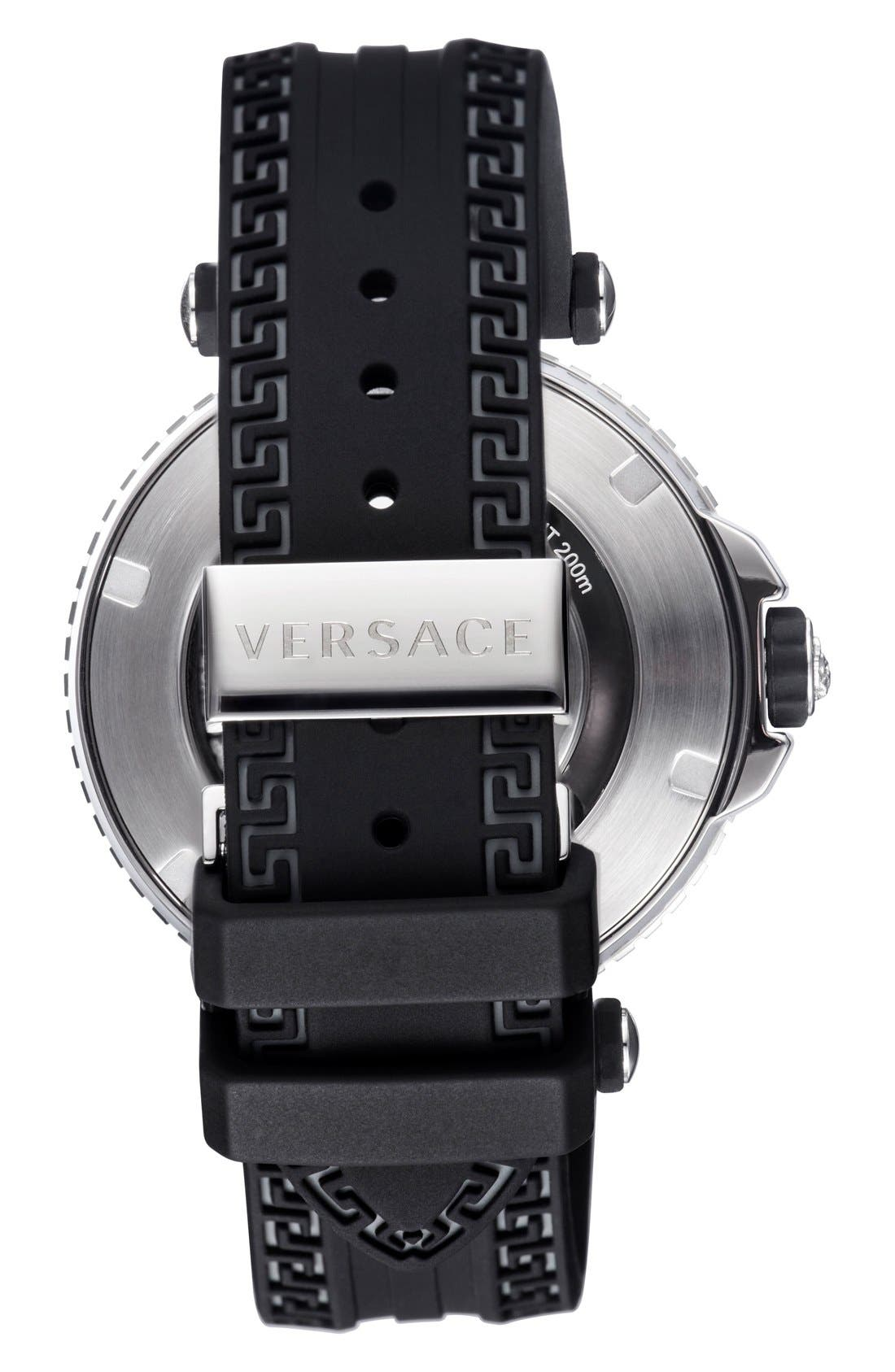 Alternate Image 2  - Versace 'V-Race Diver' Silicone Strap Watch, 46mm