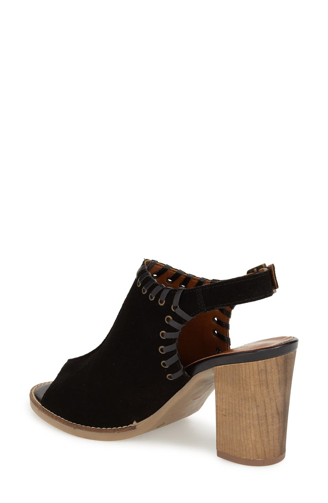 'Ora' Block Heel Slingback Sandal,                             Alternate thumbnail 2, color,                             Black Suede