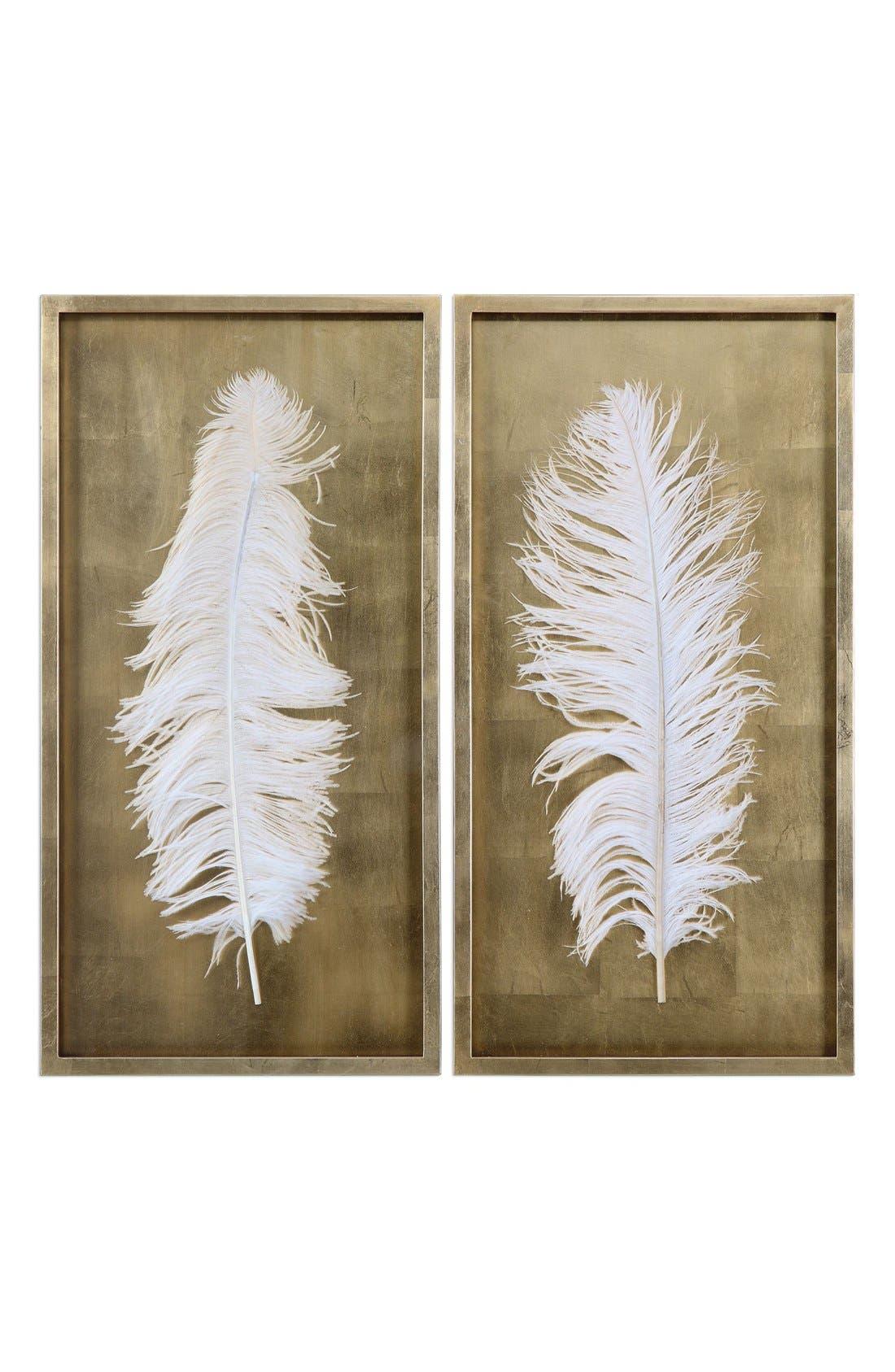 Feather Shadow Boxes,                             Main thumbnail 1, color,                             White