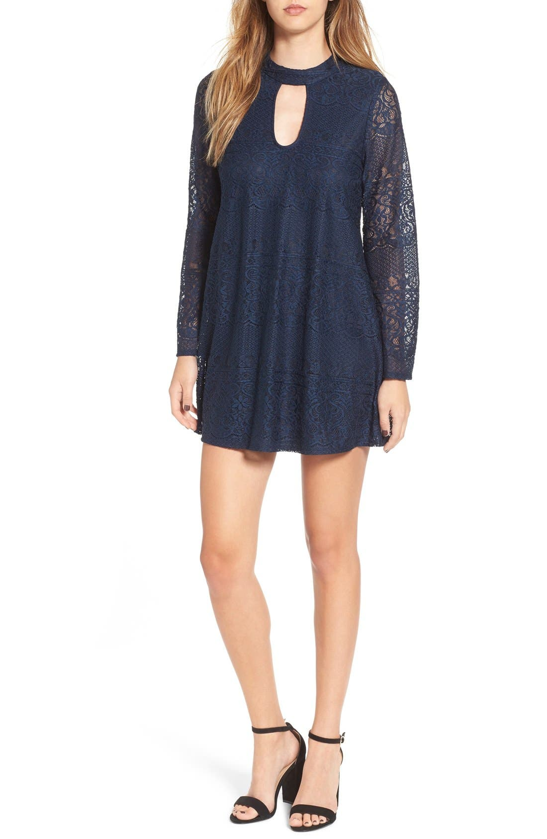 Alternate Image 1 Selected - Speechless Bell Sleeve Lace Shift Dress