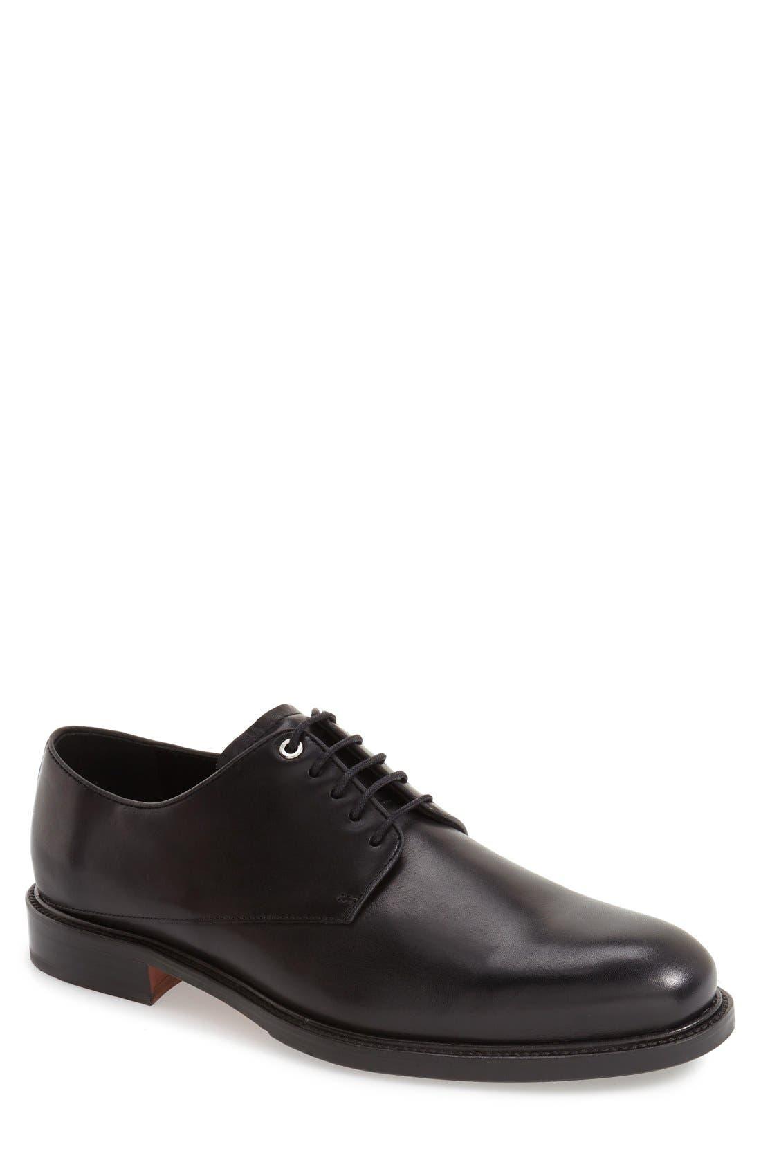 'Benson' Plain Toe Derby,                             Main thumbnail 1, color,                             Box Black Leather