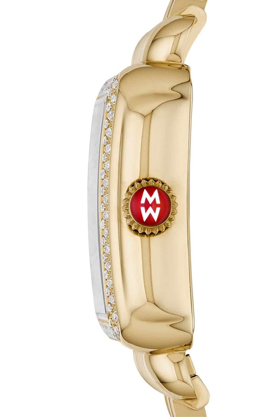 Deco Skyline Diamond Diamond Dial Watch Case, 33mm,                             Alternate thumbnail 3, color,                             Gold