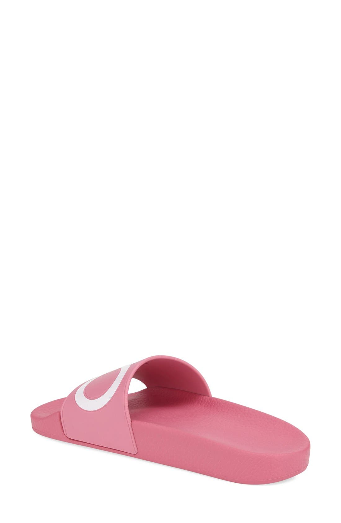 Groove Logo Slide Sandal,                             Alternate thumbnail 2, color,                             Bubble Gum Pink/ White