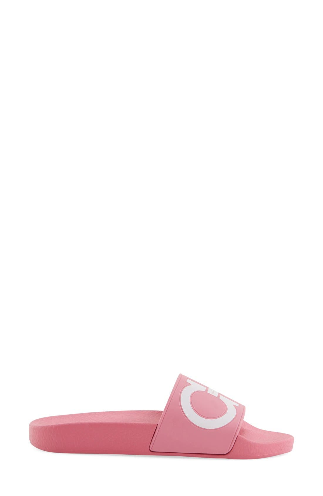 Groove Logo Slide Sandal,                             Alternate thumbnail 4, color,                             Bubble Gum Pink/ White