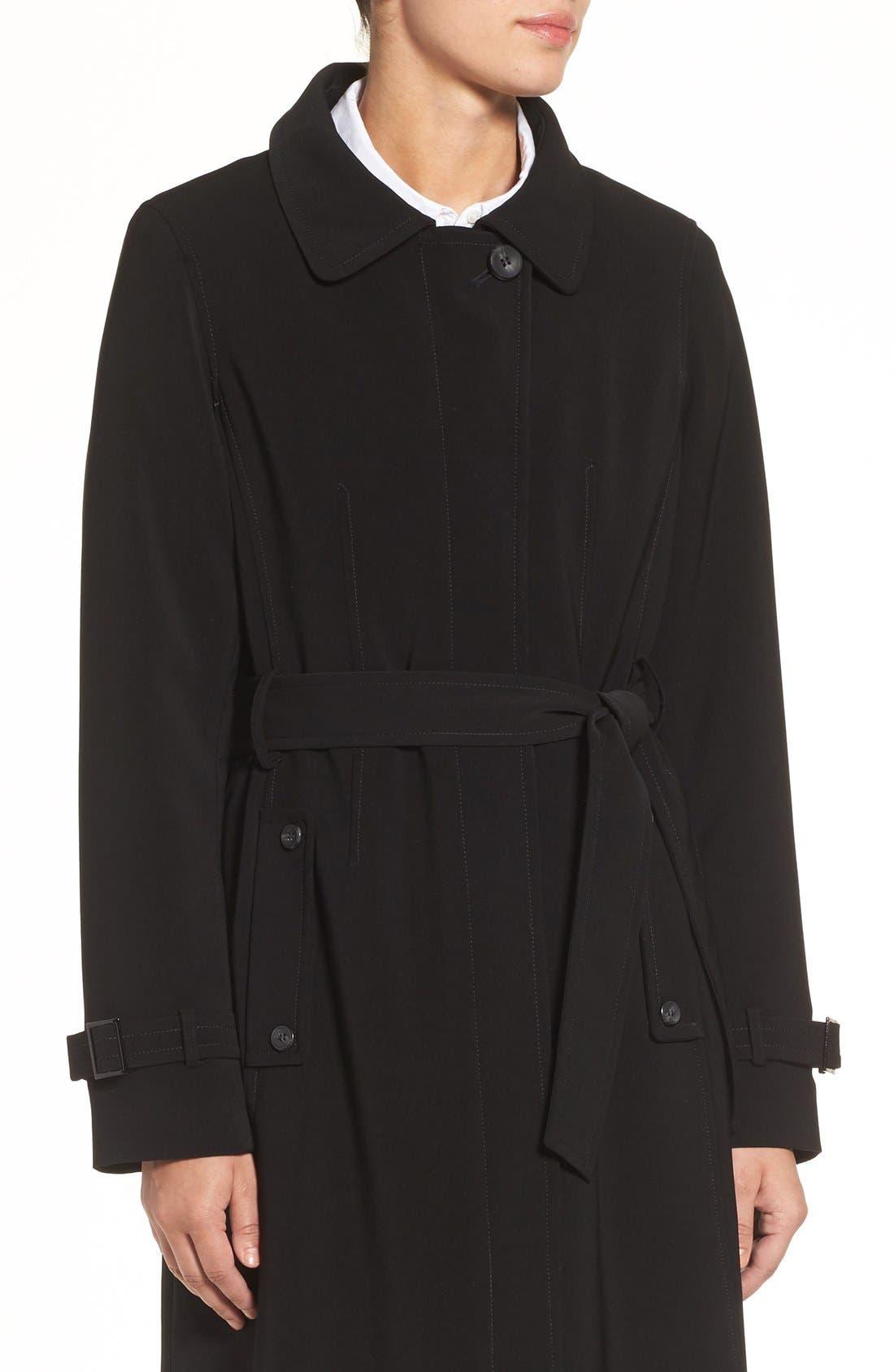 Full Length Hooded Nepage Raincoat,                             Alternate thumbnail 4, color,                             Black