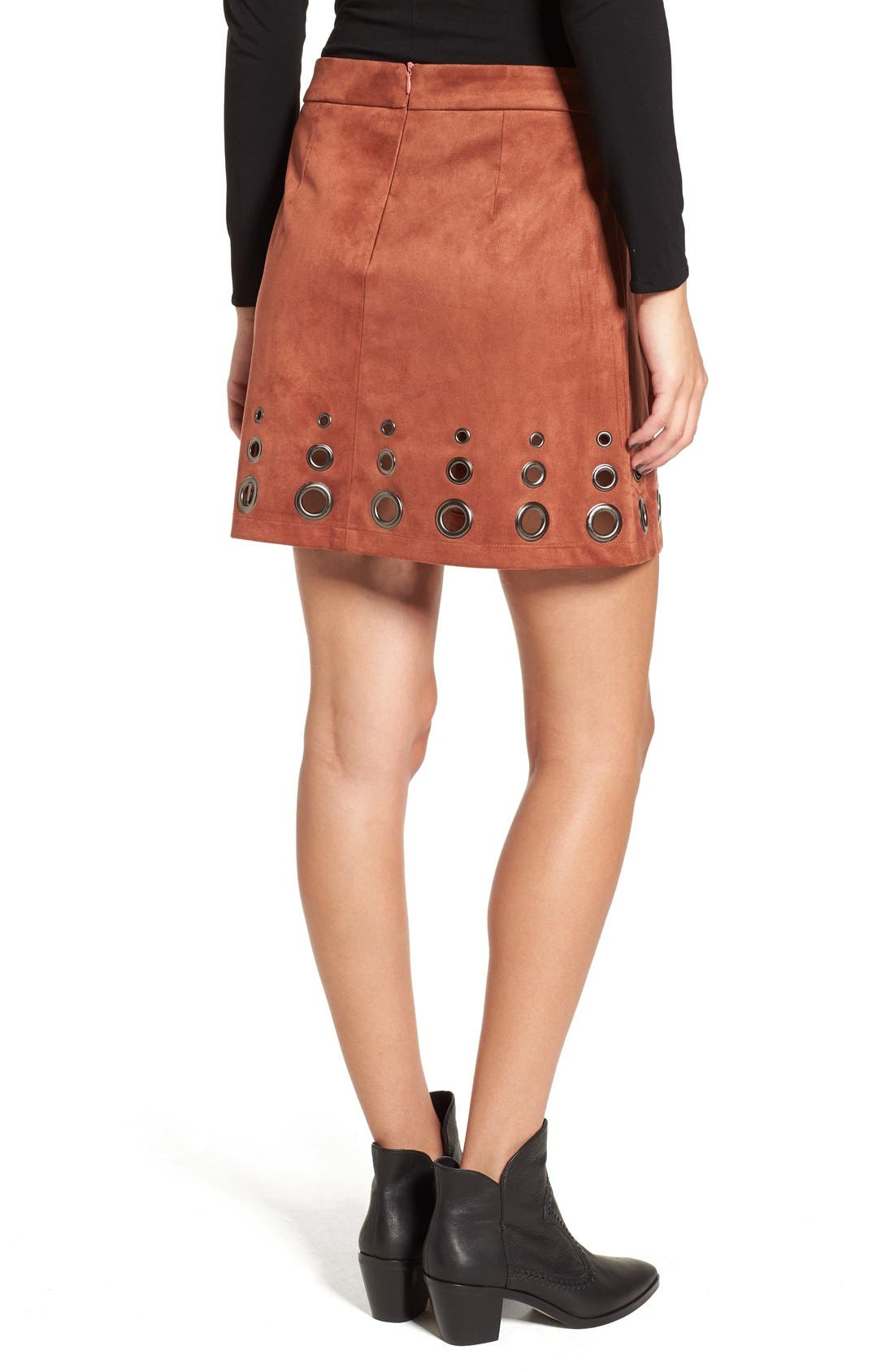 Alternate Image 2  - Glamorous Grommet Faux Suede A-Line Skirt