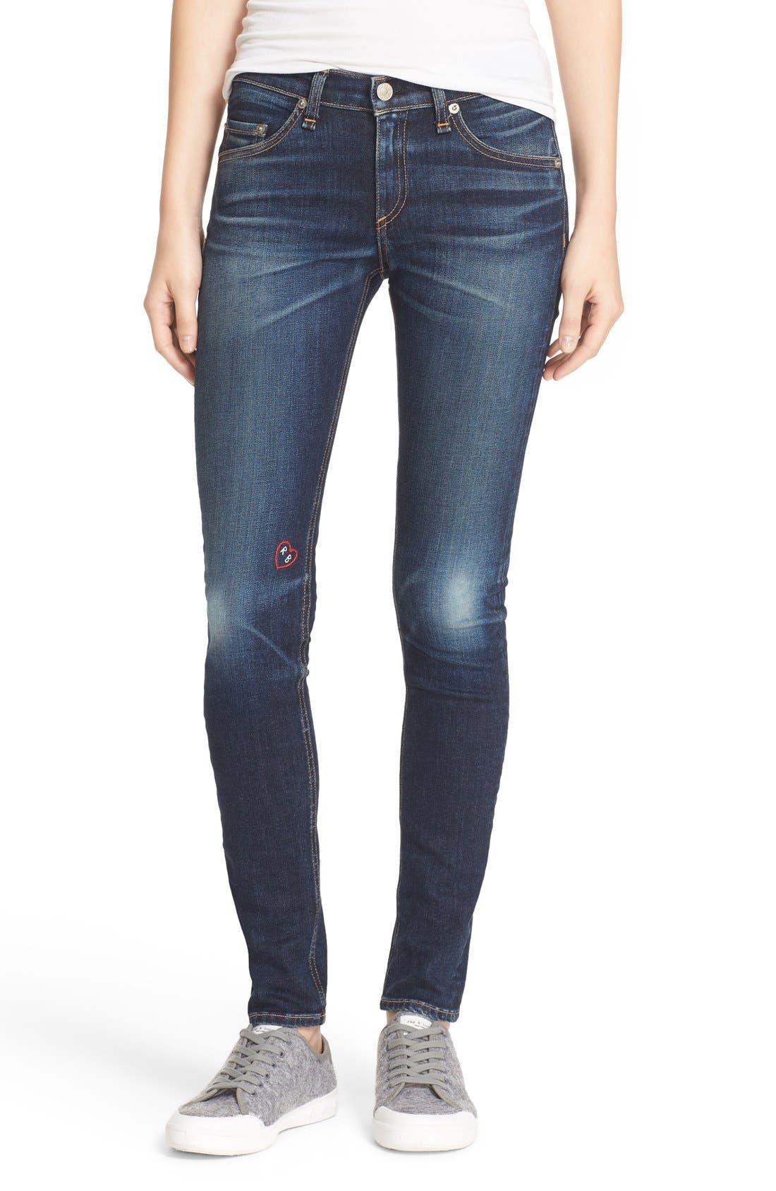 Main Image - rag & bone/JEAN Embroidered Skinny Jeans (Baker)