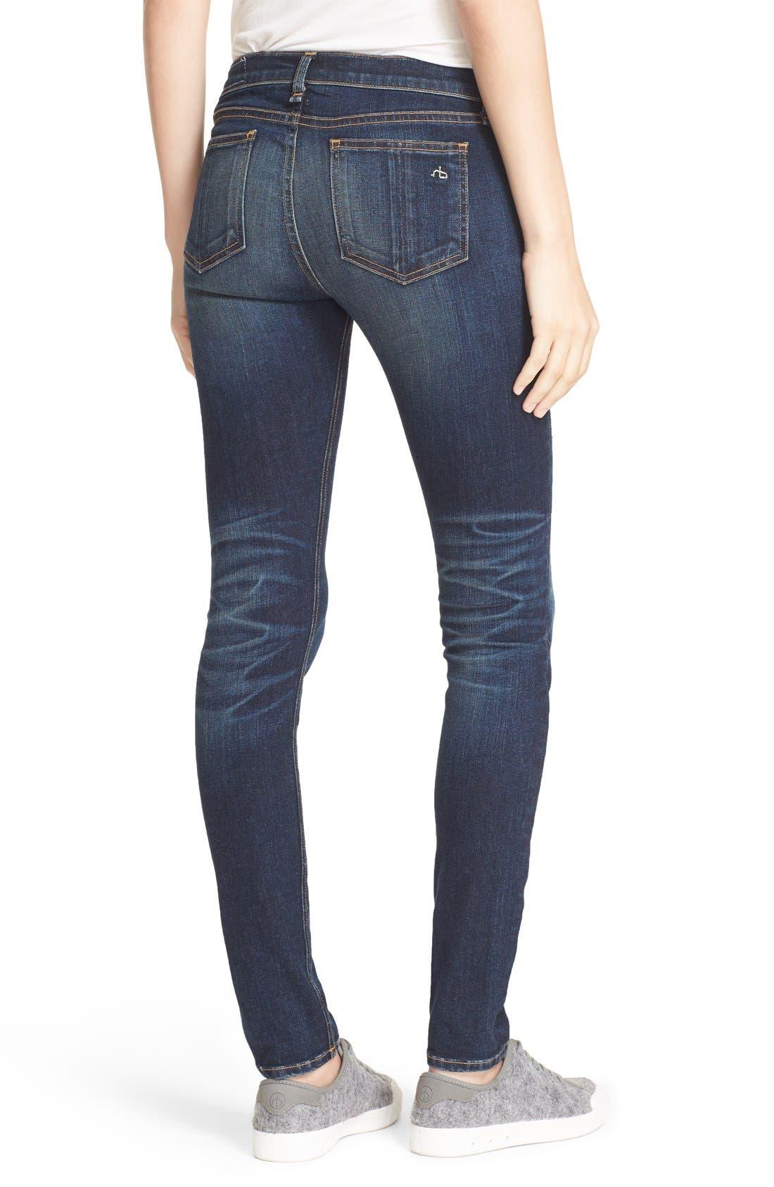 Alternate Image 2  - rag & bone/JEAN Embroidered Skinny Jeans (Baker)