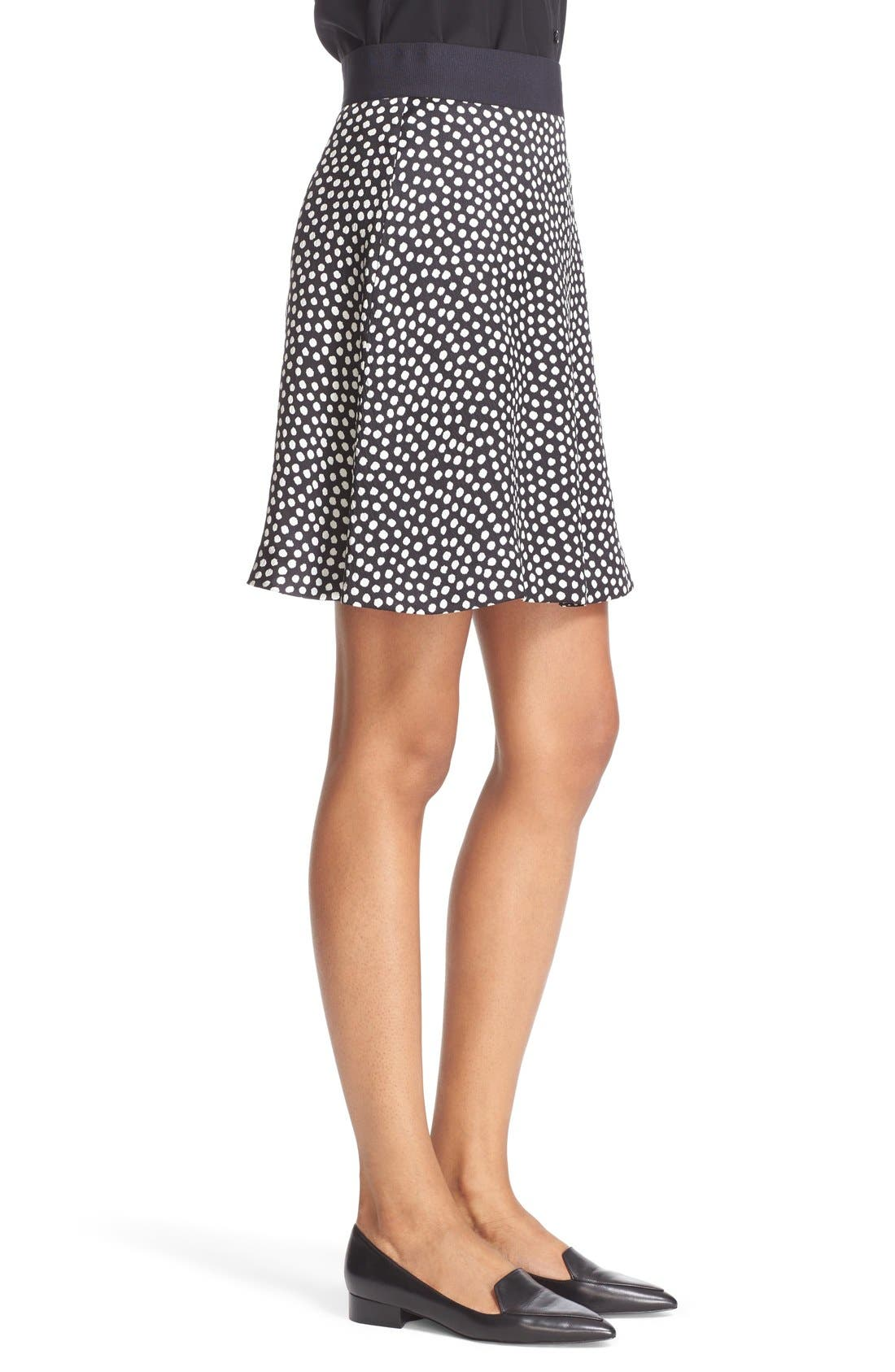 Alternate Image 3  - kate spade new york spot print silk flippy skirt