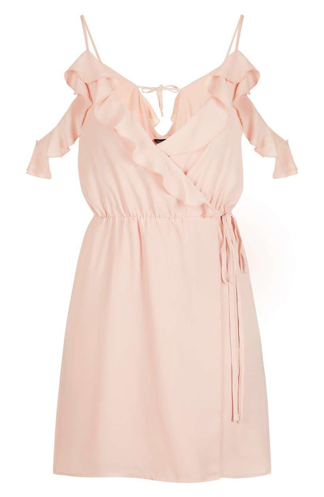 Alternate Image 4  - Topshop Ruffle Cold Shoulder Wrap Minidress