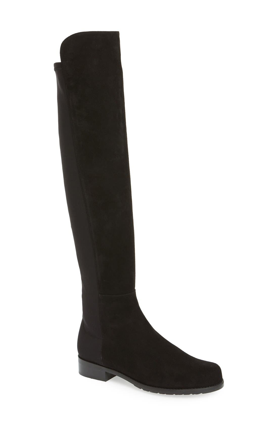 5050 Over the Knee Leather Boot,                         Main,                         color, Black Suede