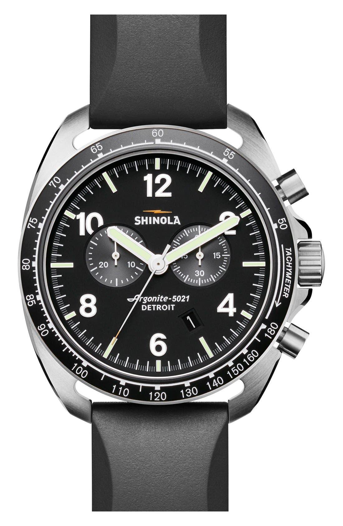 Main Image - Shinola 'The Rambler' Chronograph Rubber Strap Watch, 44mm