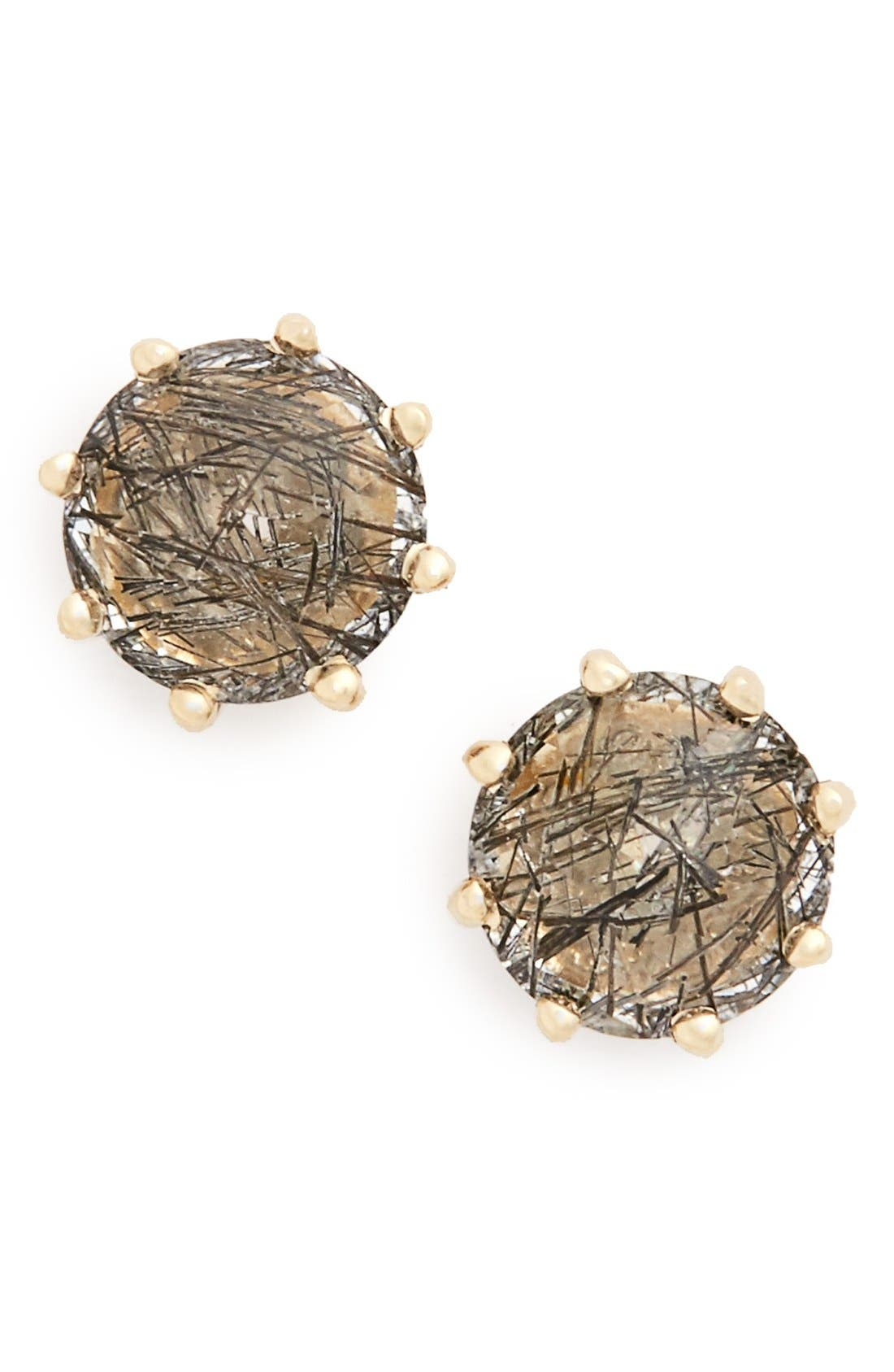 'Eleanor' Black Rutilated Quartz Stud Earrings,                             Main thumbnail 1, color,                             Yellow/ Gold/ Black