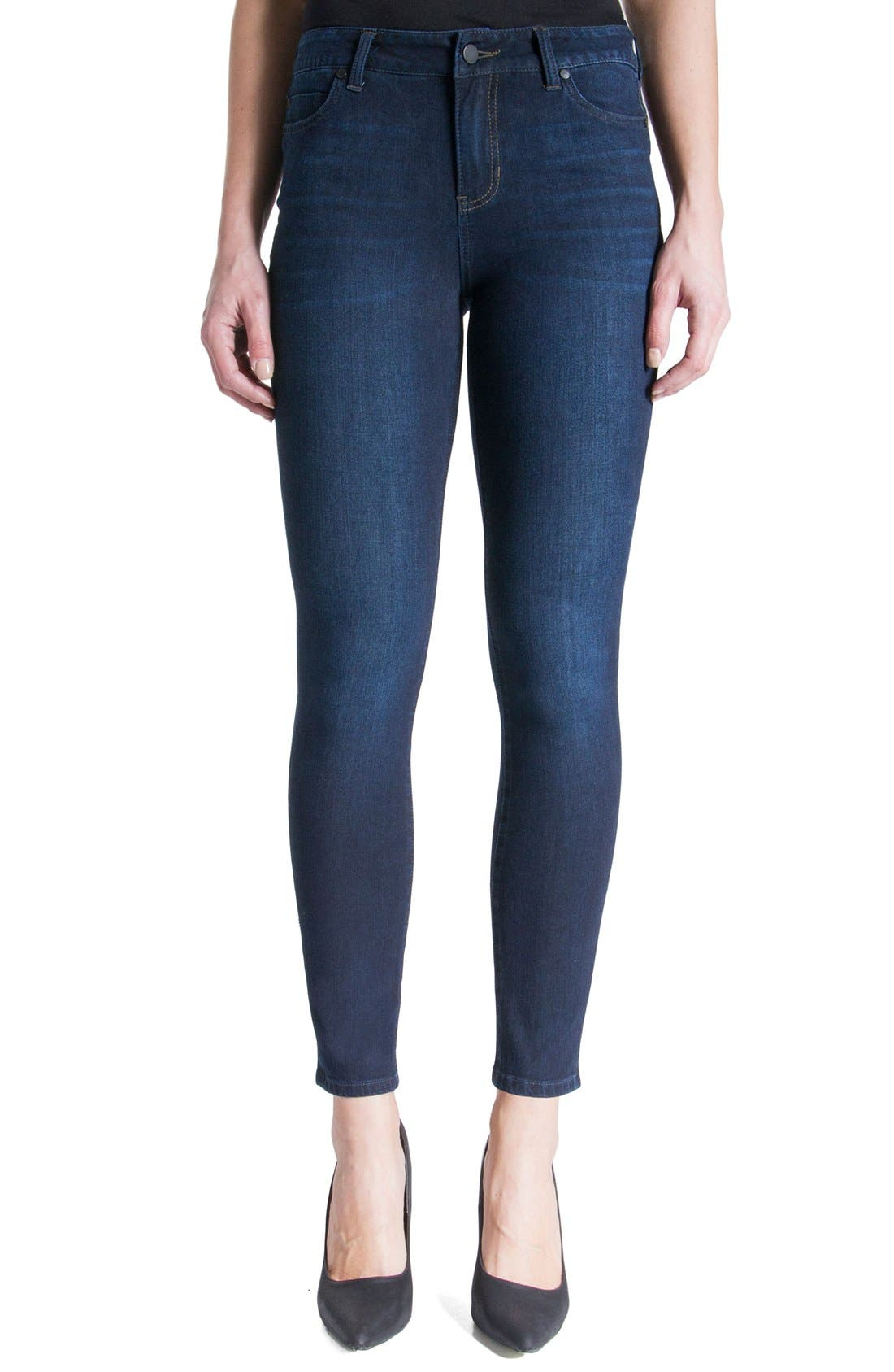 Liverpool Jeans Company Piper Hugger Lift Sculpt Ankle Skinny Jeans  (Blackout Blue)