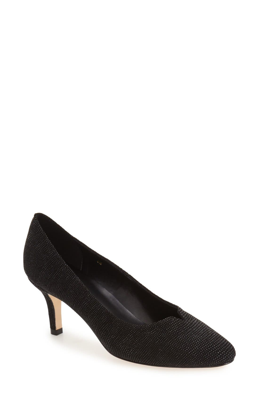 'Linden' Almond Toe Pump,                             Main thumbnail 1, color,                             Black Leather