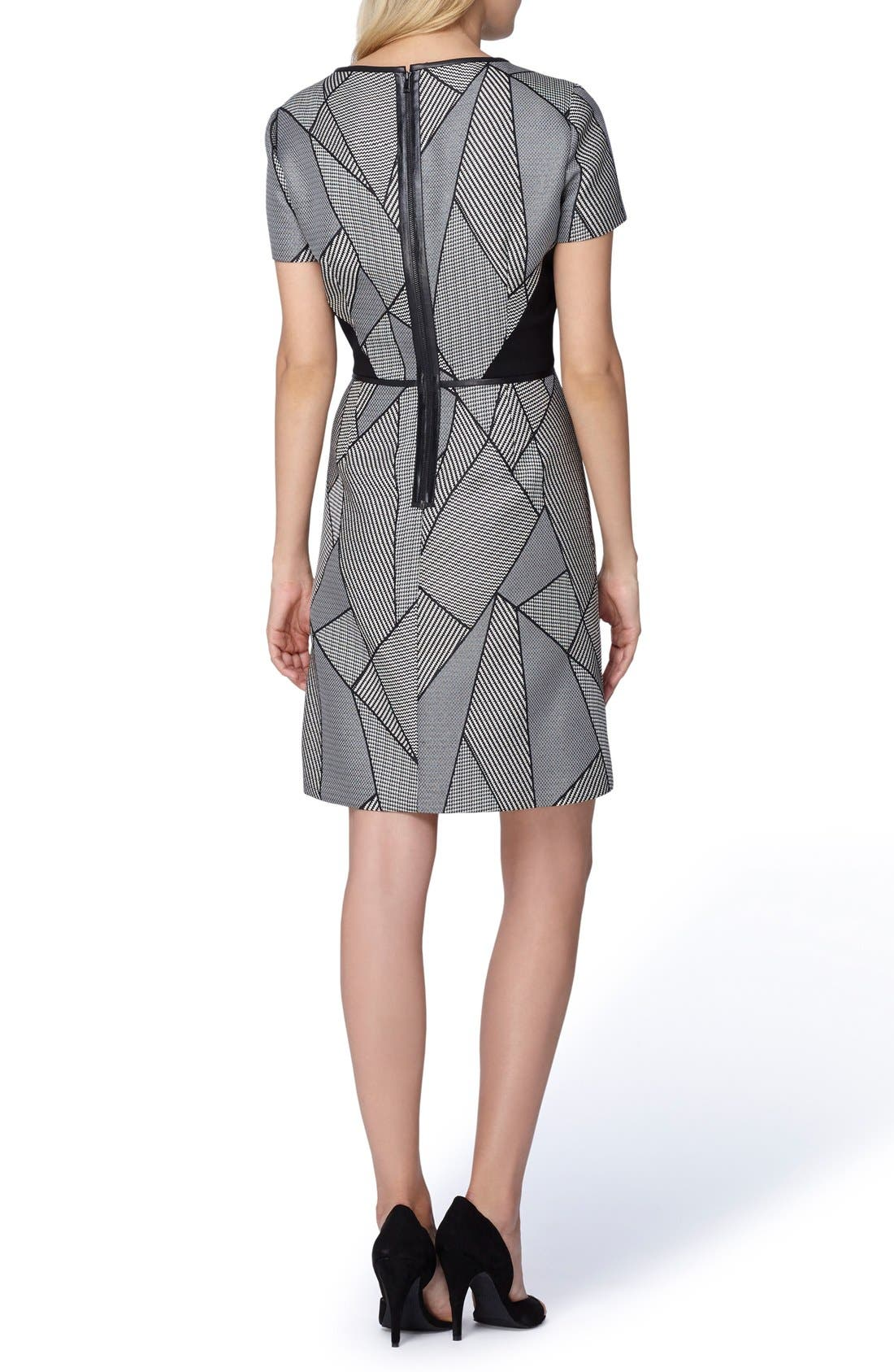 Alternate Image 2  - Tahari Geometric Jacquard A-Line Dress (Regular & Petite)