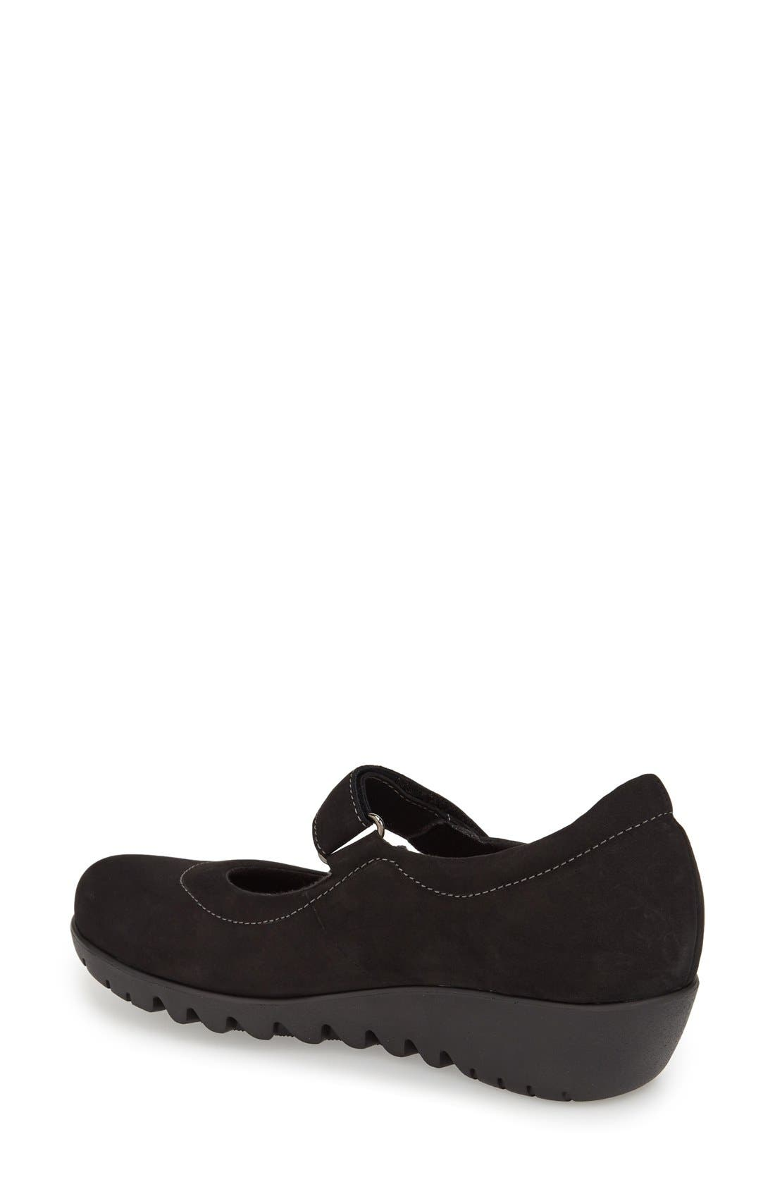 'Pia' Mary Jane,                             Alternate thumbnail 2, color,                             Black Nubuck Leather