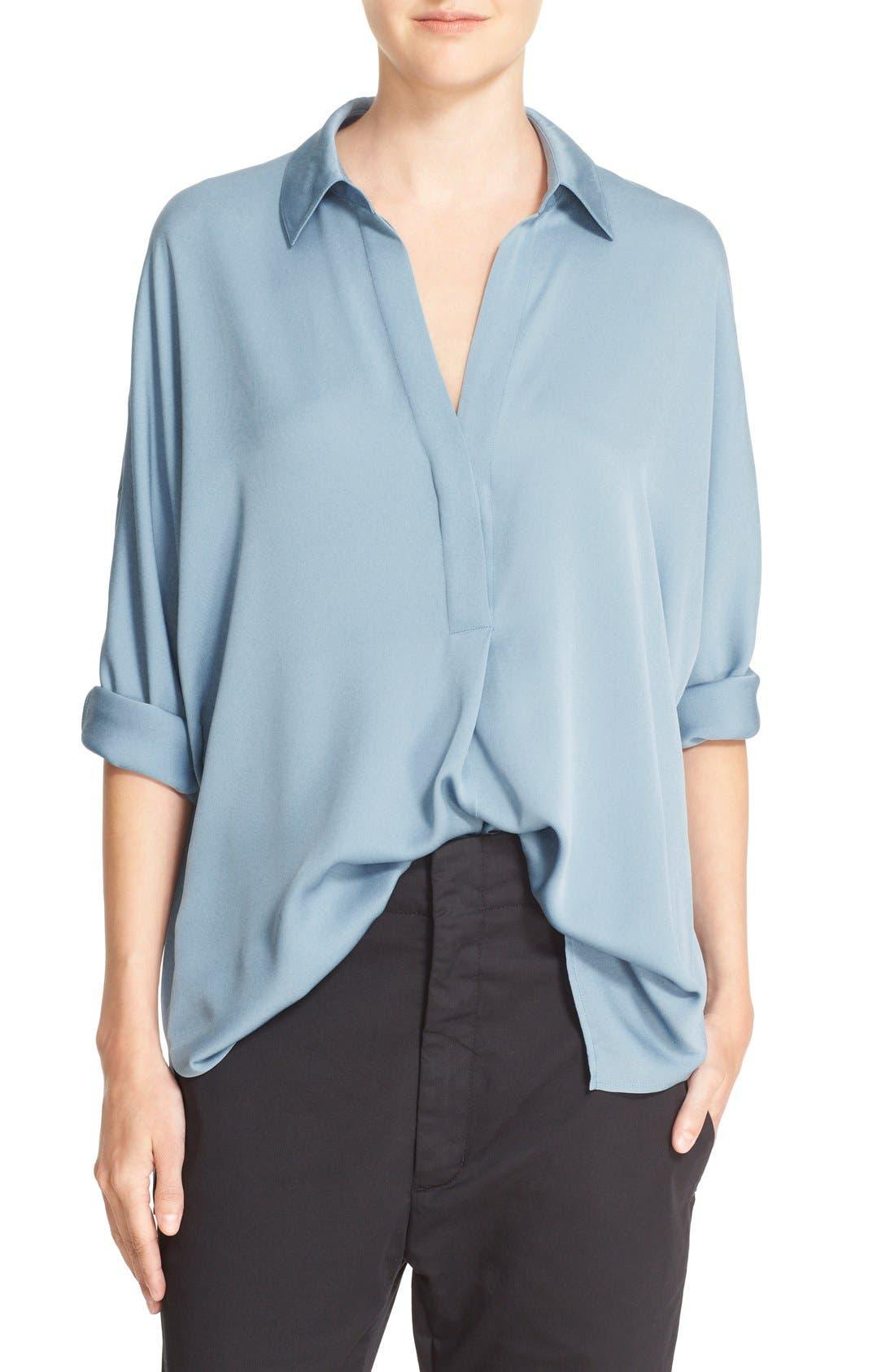 V-Neck Stretch Silk Blouse,                         Main,                         color, Sky Blue