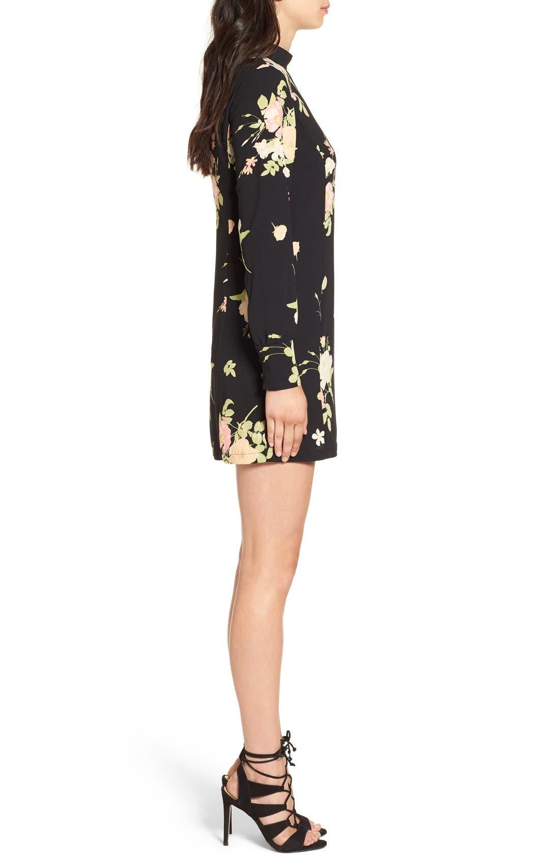 Alternate Image 4  - Leith Floral Print Mock Neck Shift Dress