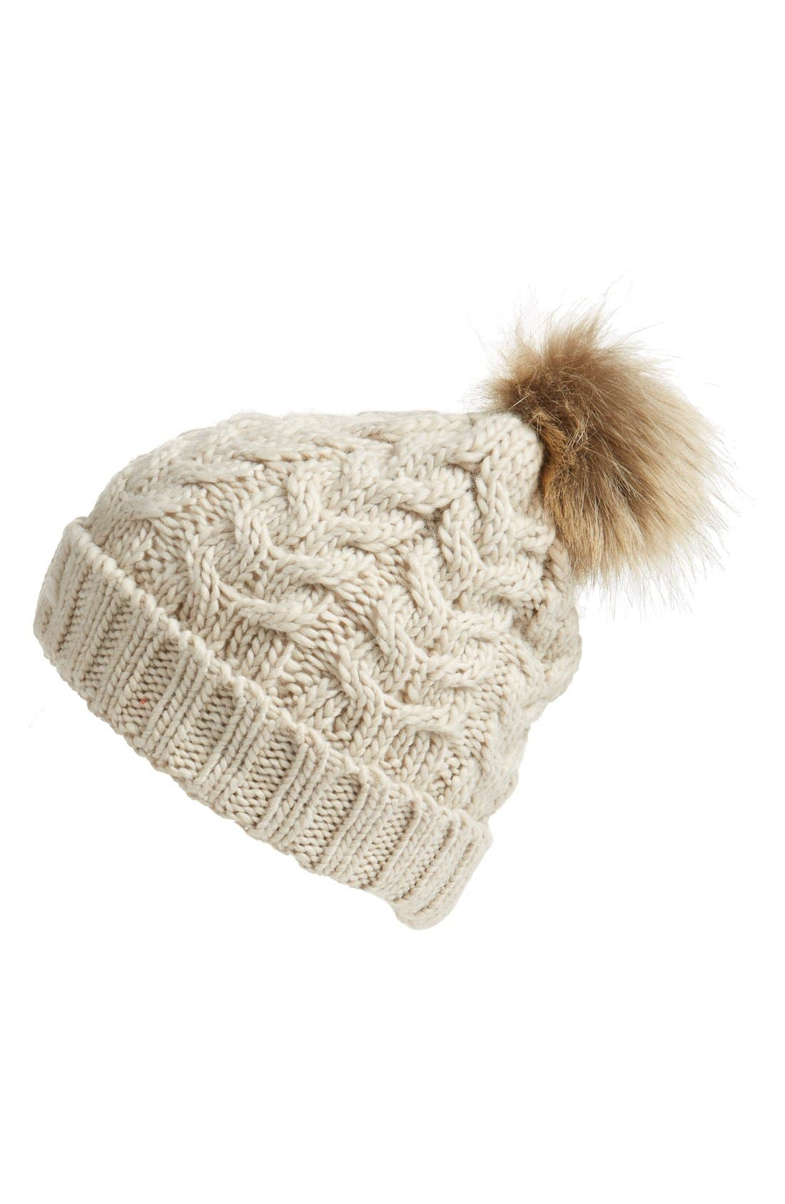 Knit Beanie with Faux Fur Pompom,                             Main thumbnail 1, color,                             Oatmeal