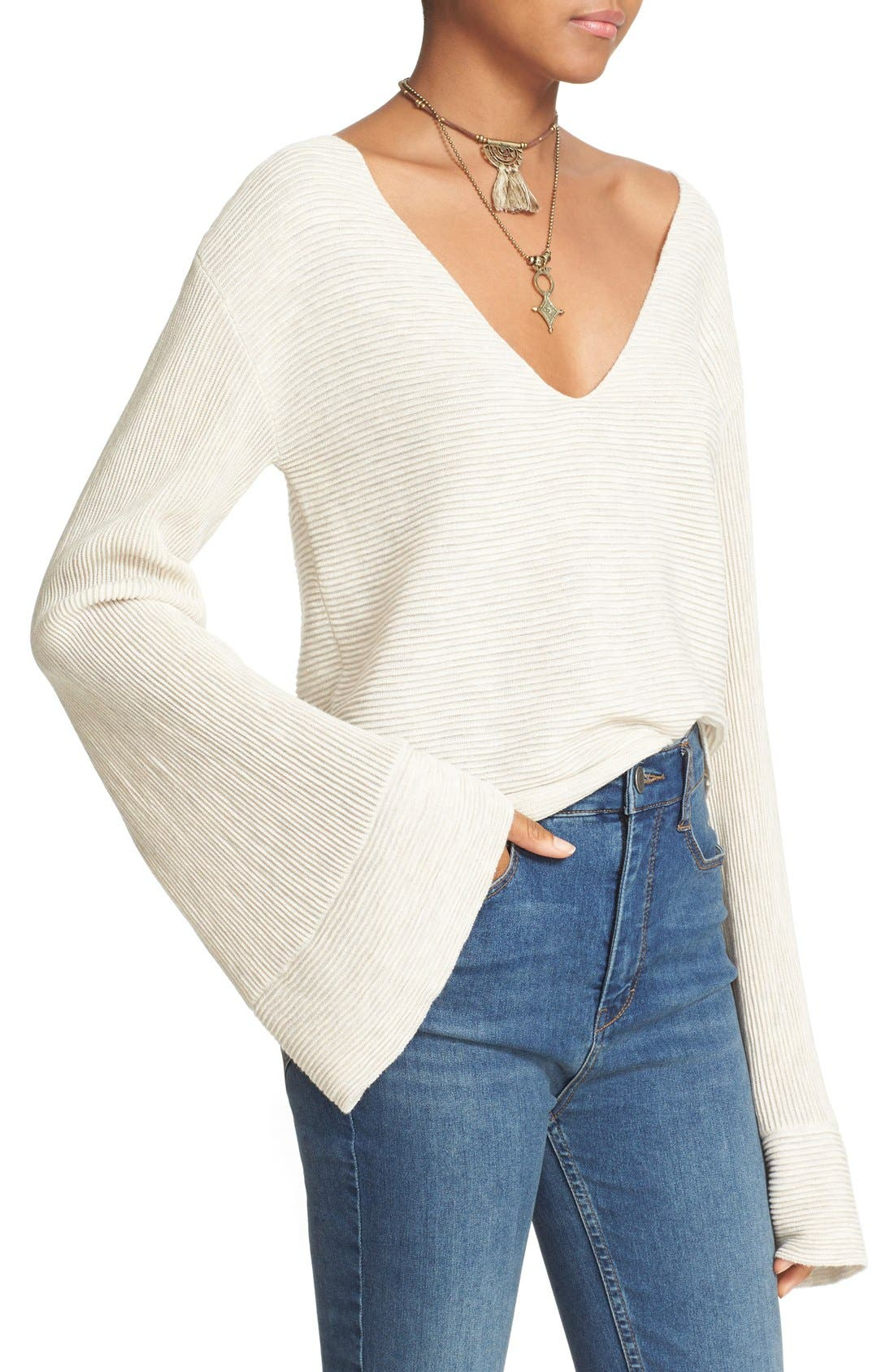 'Starman' Rib Knit Pullover,                             Alternate thumbnail 3, color,                             Ivory