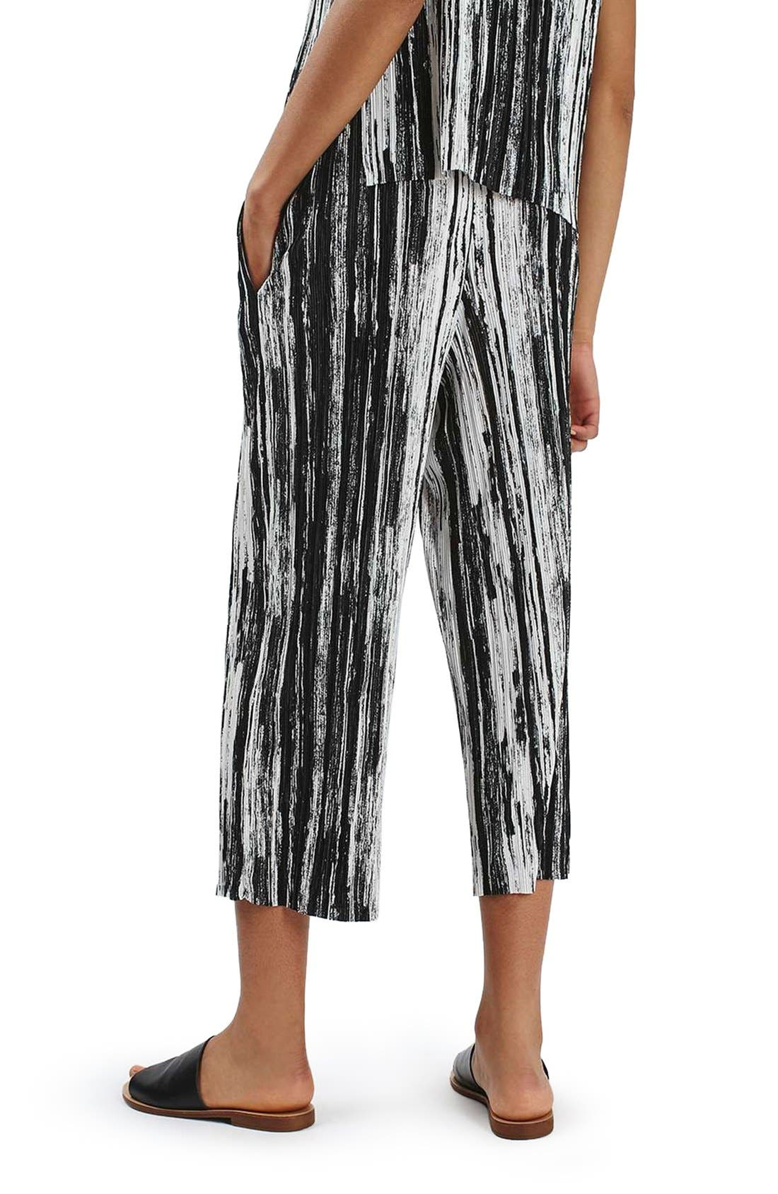 Alternate Image 3  - Topshop Scratch Stripe Plissé Trousers (Petite)