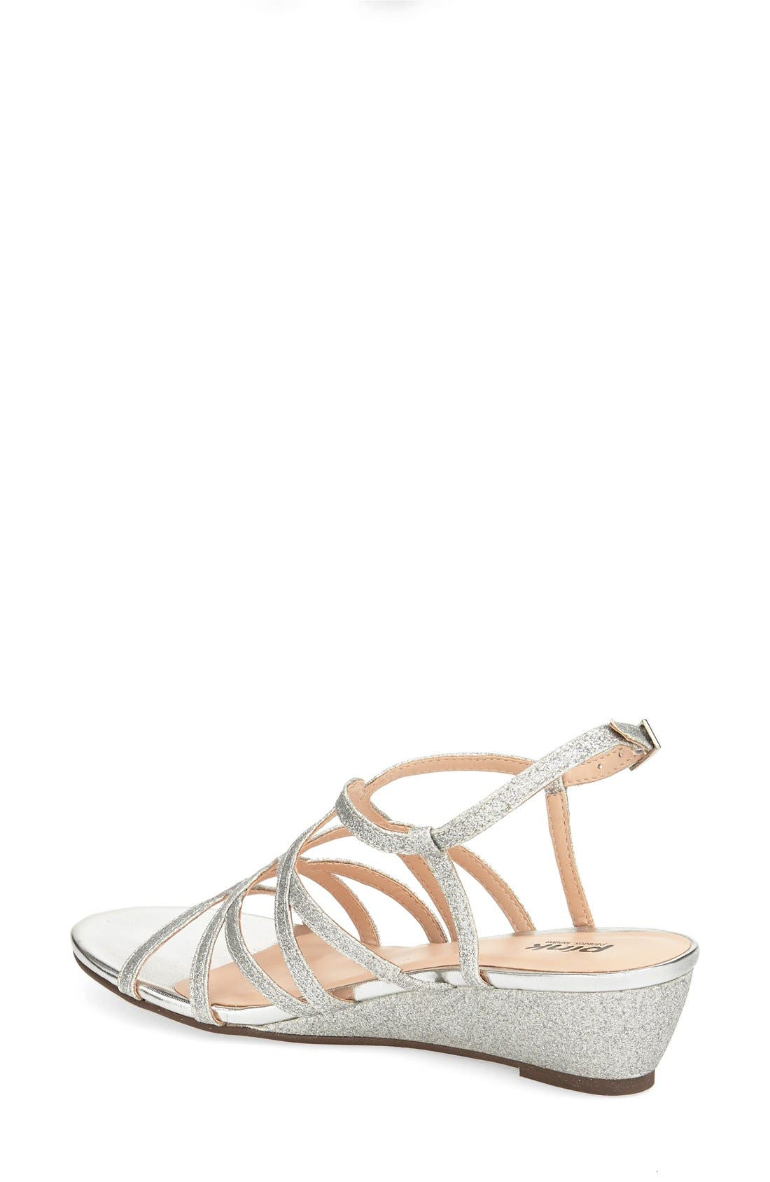 'Opulent' Wedge Sandal,                             Alternate thumbnail 2, color,                             Silver