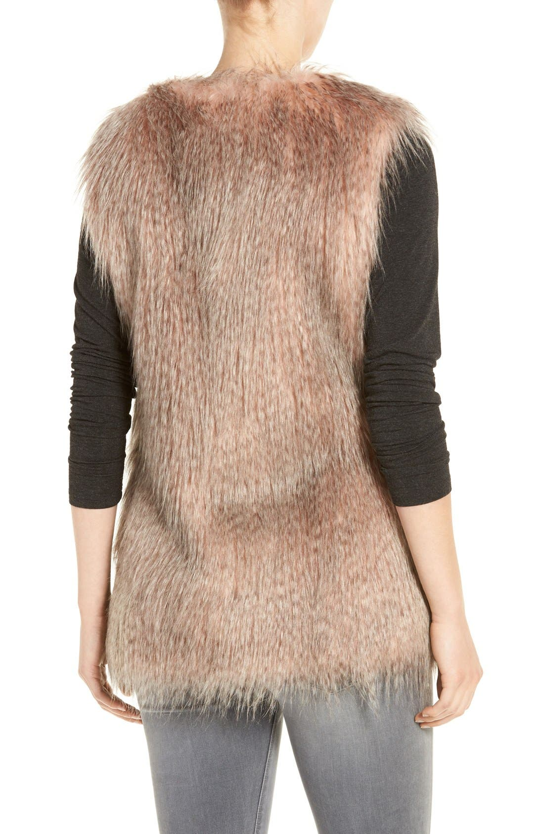 Collarless Faux Fur Vest,                             Alternate thumbnail 2, color,                             Pink Multi