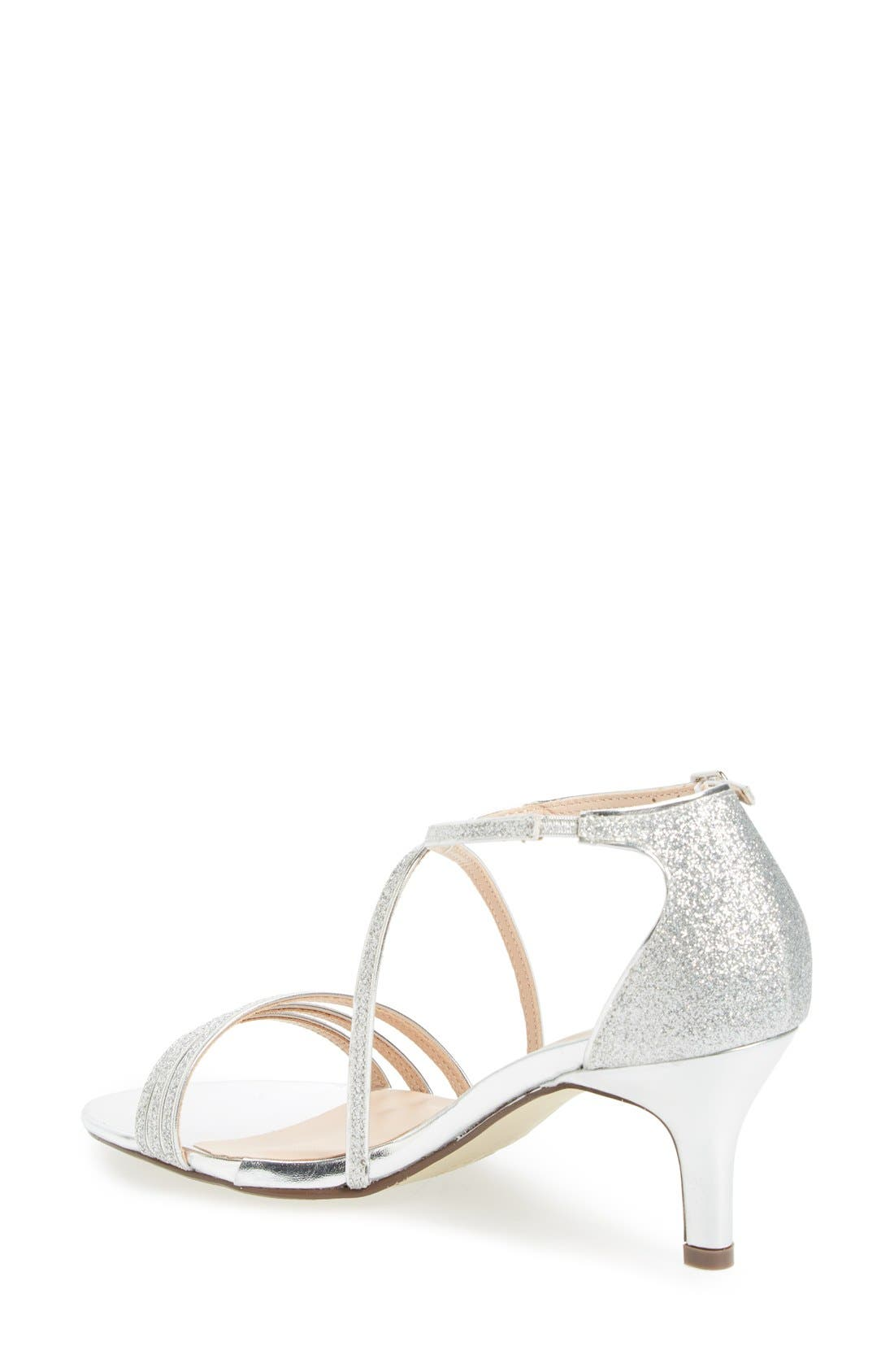 'Isla' Glitter Sandal,                             Alternate thumbnail 2, color,                             Silver