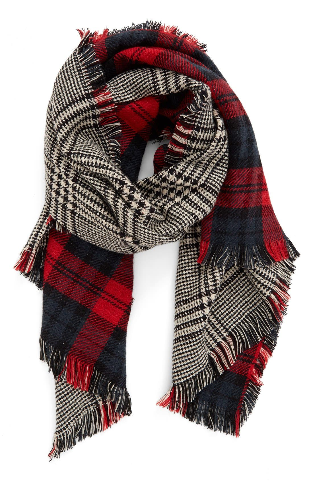 Reversible Scarf,                             Main thumbnail 1, color,                             Black/ Red