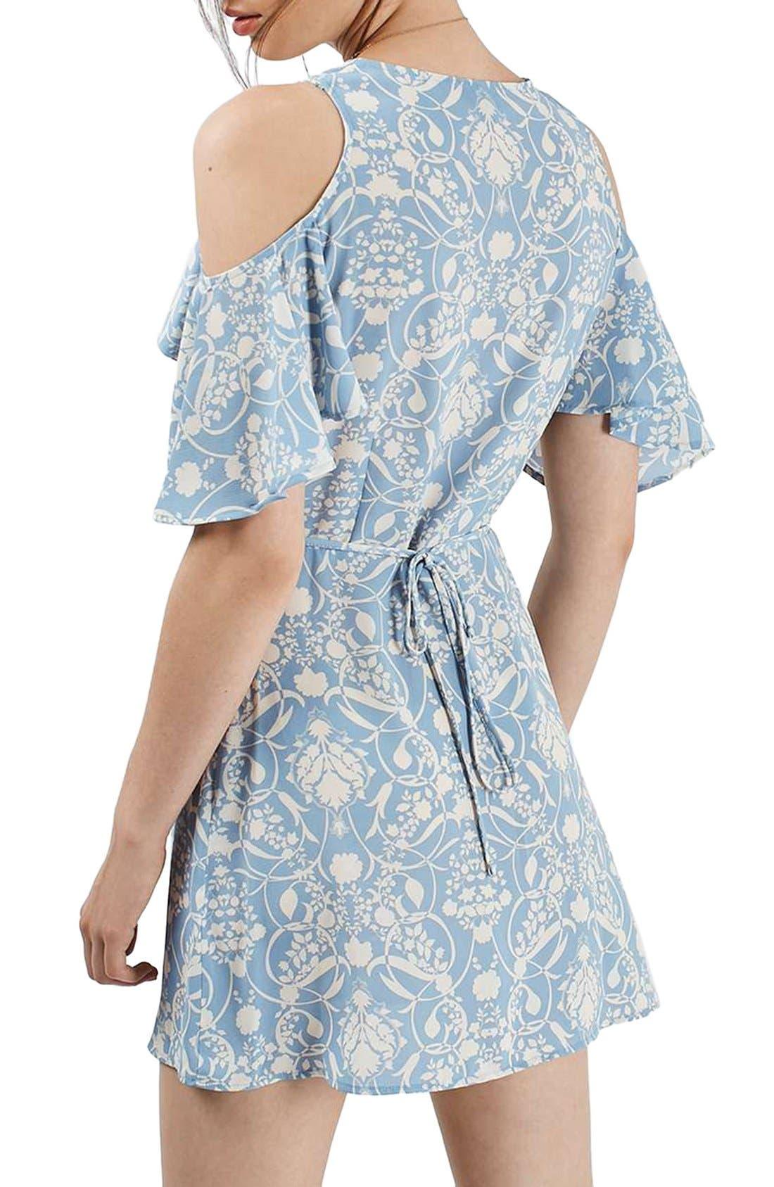 Alternate Image 2  - Topshop Floral Print Cold Shoulder Wrap Dress