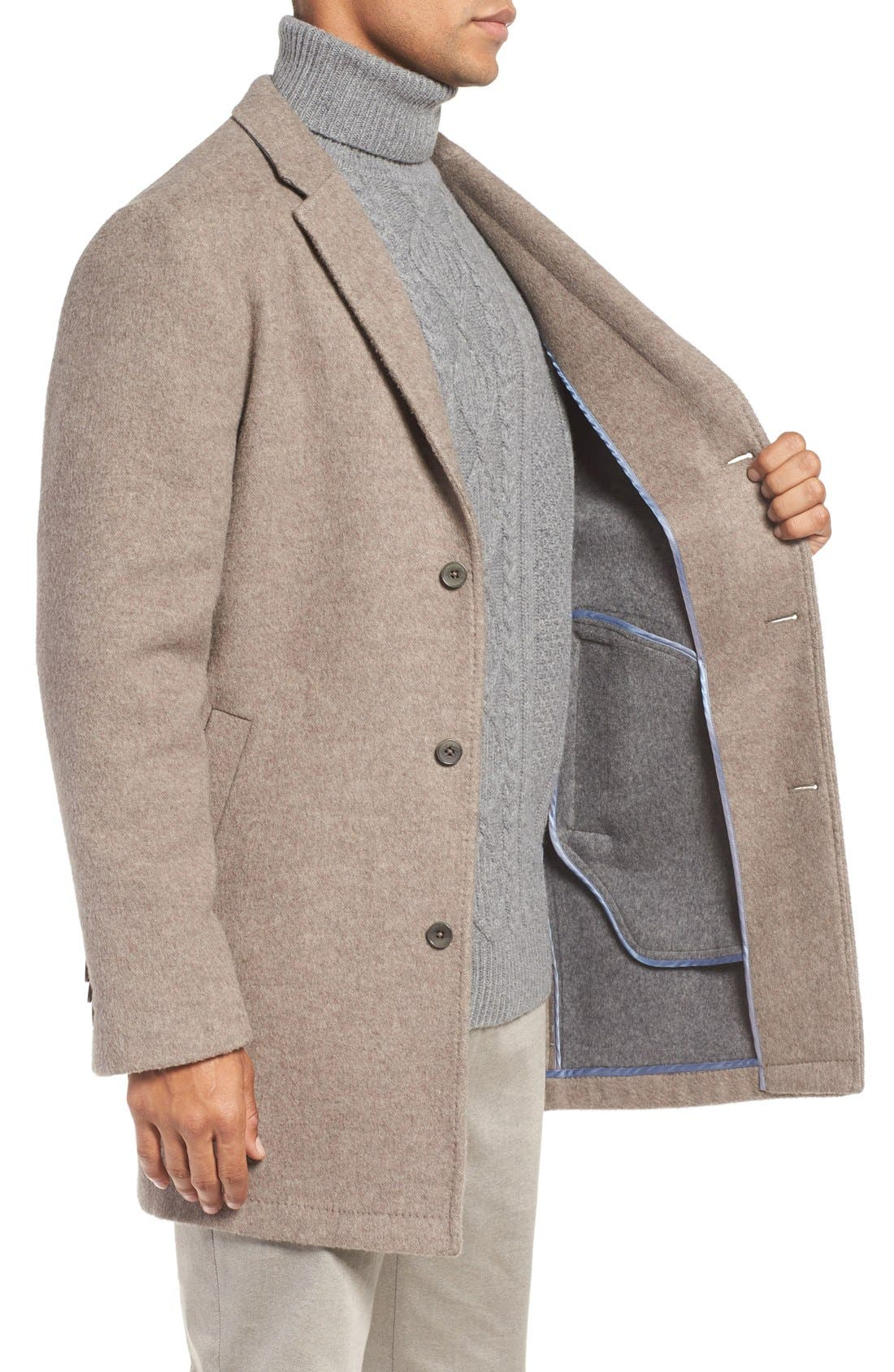 'Wentworth' Wool Coat,                             Alternate thumbnail 3, color,                             Fawn
