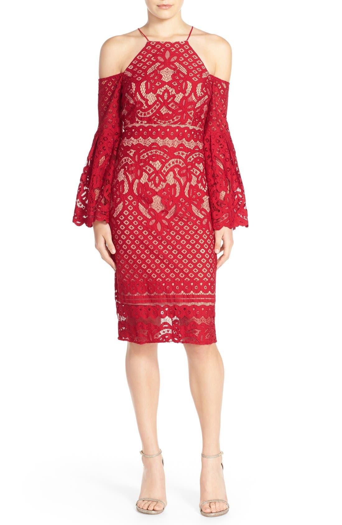 Main Image - Bardot 'Mila' Cold Shoulder Lace Midi Dress