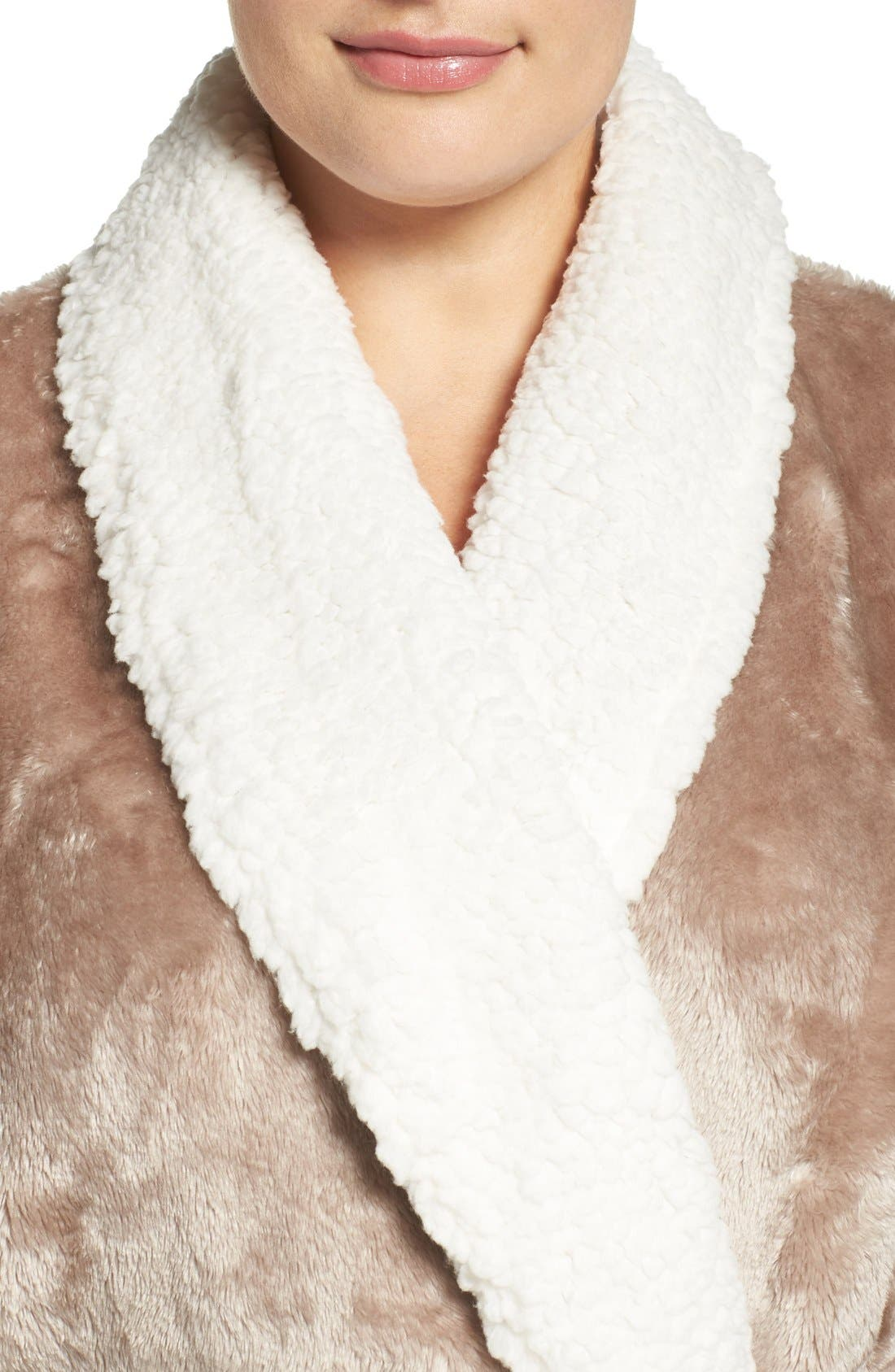 Frosted Plush Robe,                             Alternate thumbnail 4, color,                             Brown