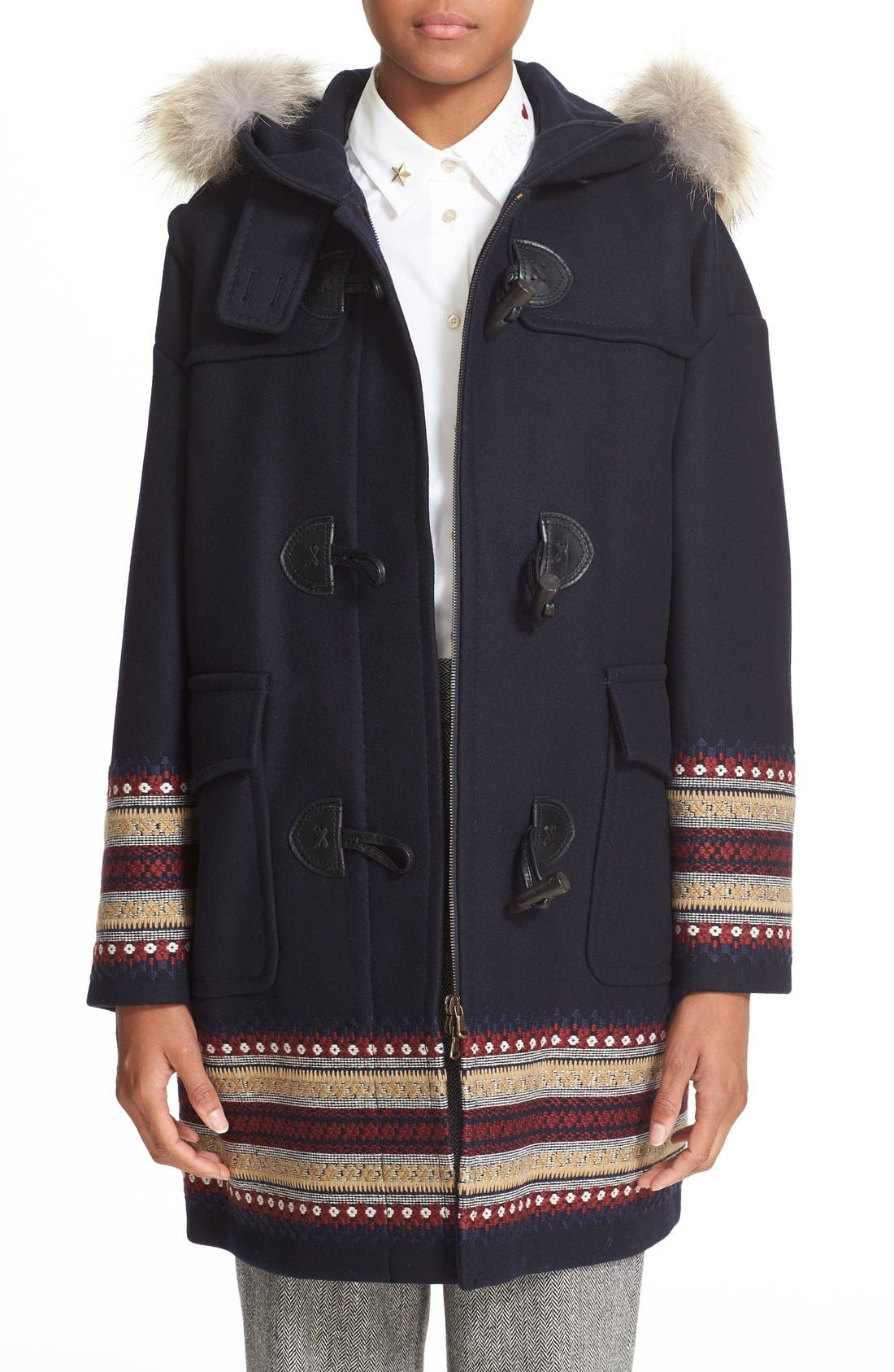 Alternate Image 1 Selected - RED Valentino Toggle Coat with Genuine Coyote Fur Trim