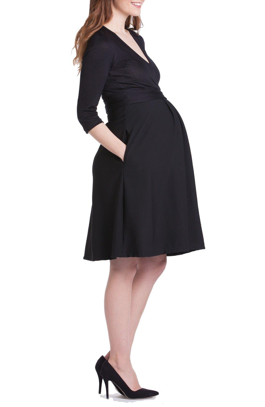 Abby Maternity/Nursing Dress,                             Alternate thumbnail 3, color,                             Black
