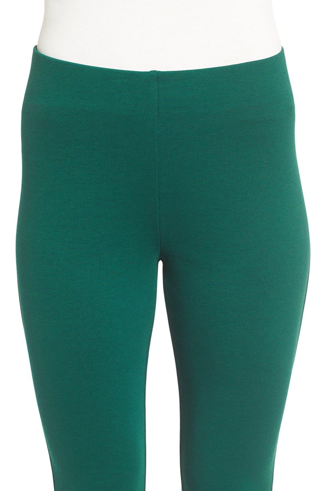 Ponte Knit Leggings,                             Alternate thumbnail 4, color,                             Deep Emerald